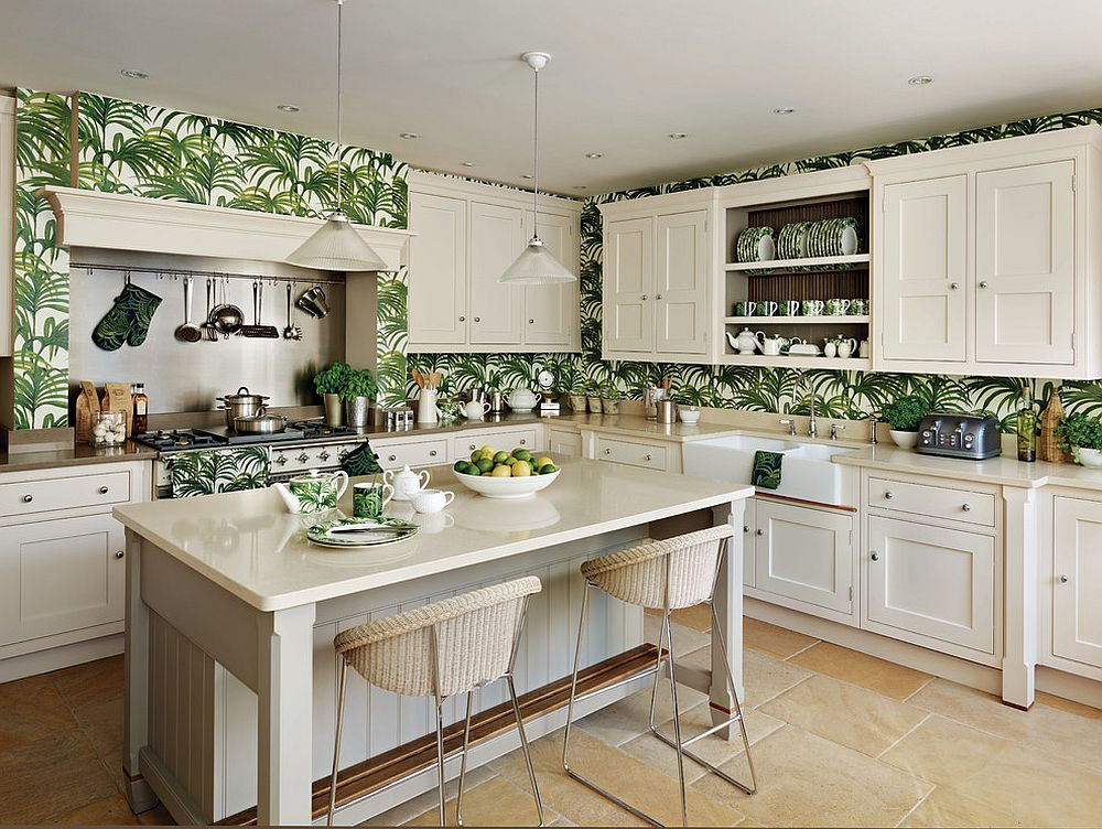 Traditional-kitchen-in-white-with-tropical-wallpaper