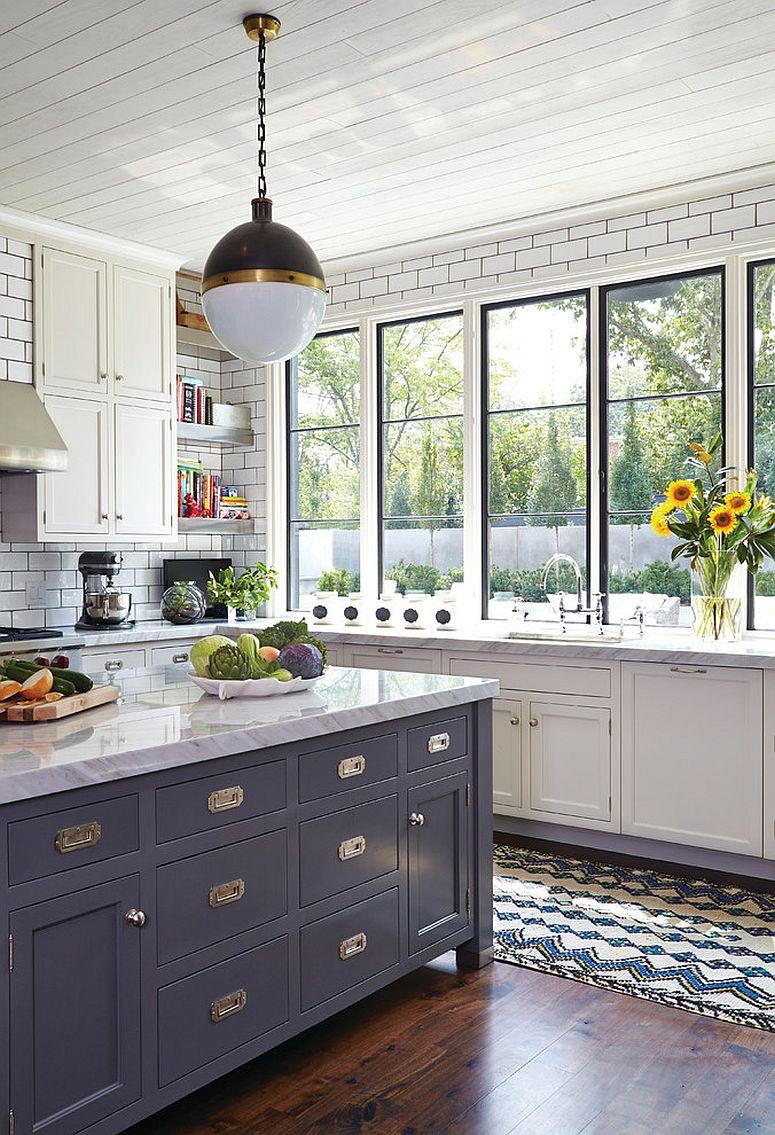 Transitional kitchen in white with lovely subway tiled backsplash