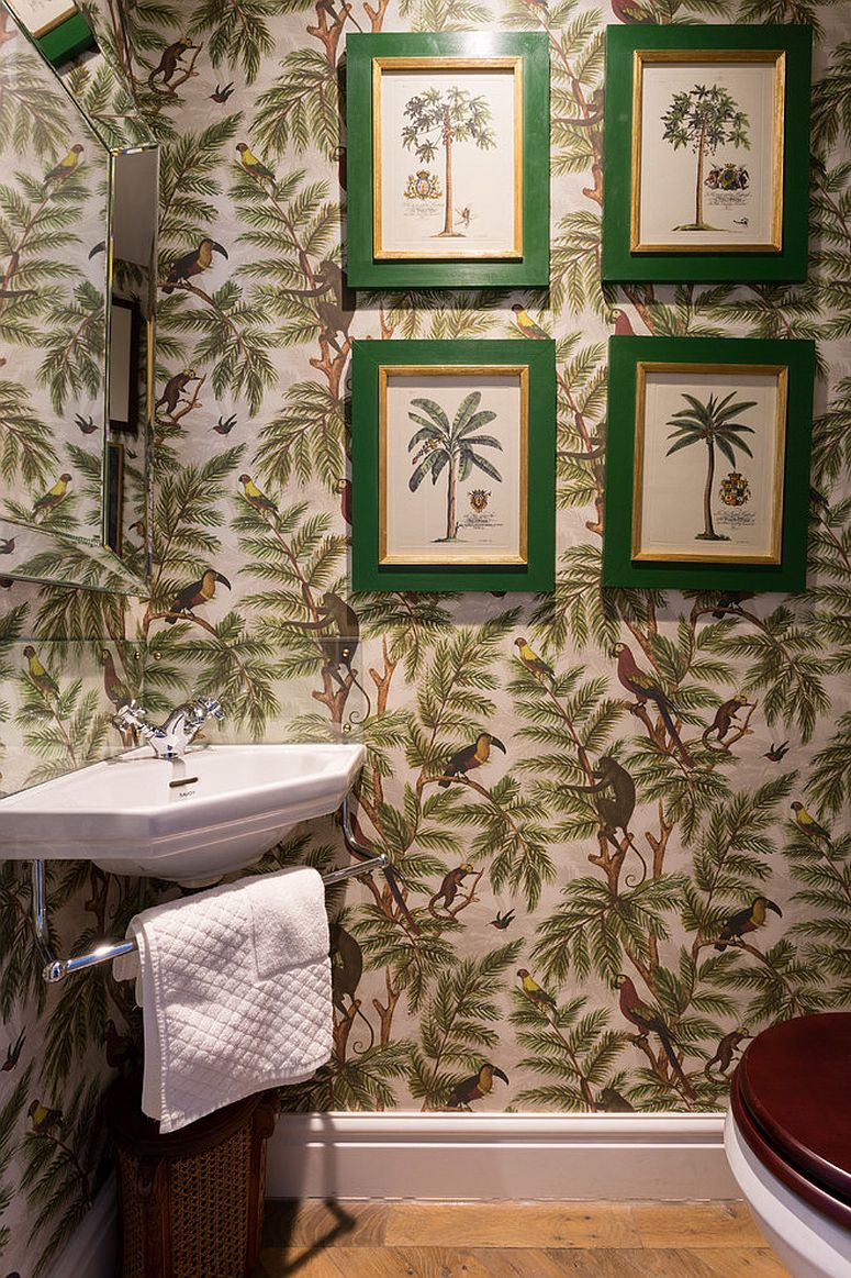 Tropical-powder-room-with-an-equally-vibrant-wallpaper