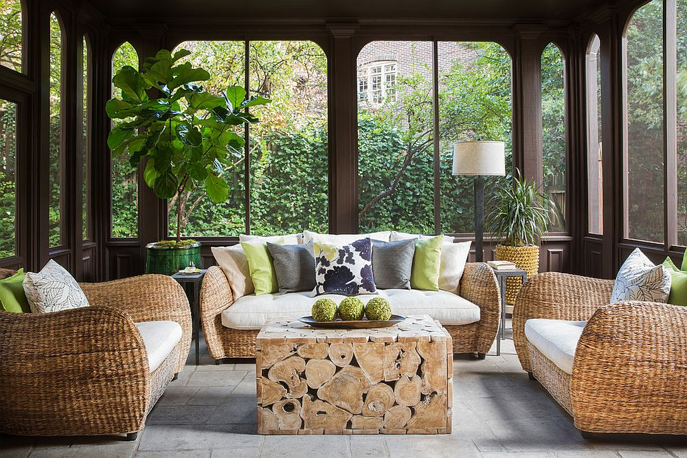 Tropical sunroom is the perfect place to relax all year long!