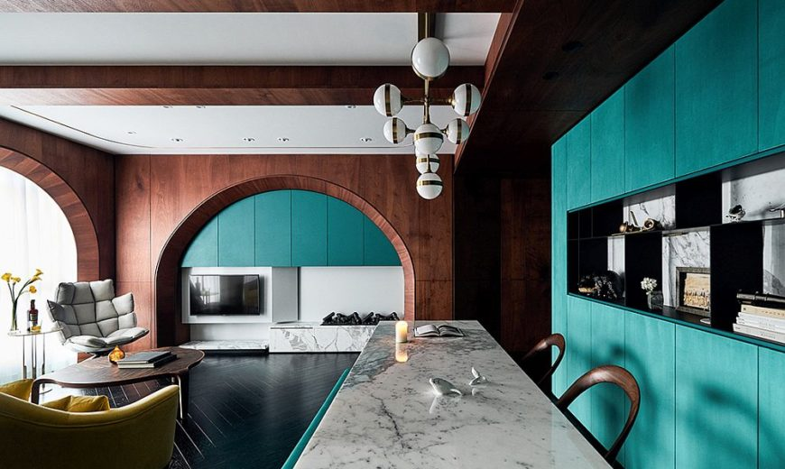 Inspired by Ocean Cruisers: Modern Apartment in Wood, Turquoise and Marble