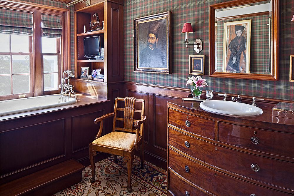 Vintage farmhouse style bathroom with chic plaid wallpaper and wooden vanity