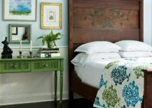 Vintage-wooden-bed-for-the-eclectic-bedroom-in-light-blue-217x155