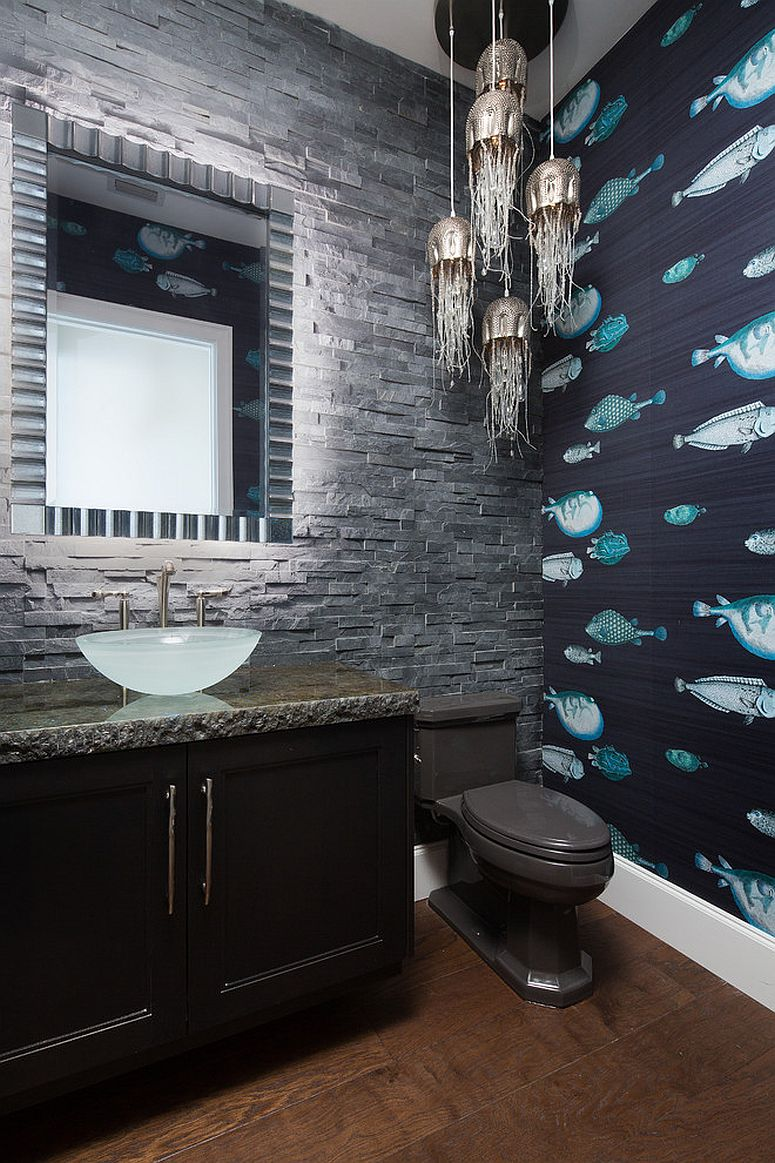 Wallpaper-with-fish-pattern-for-the-powder-room
