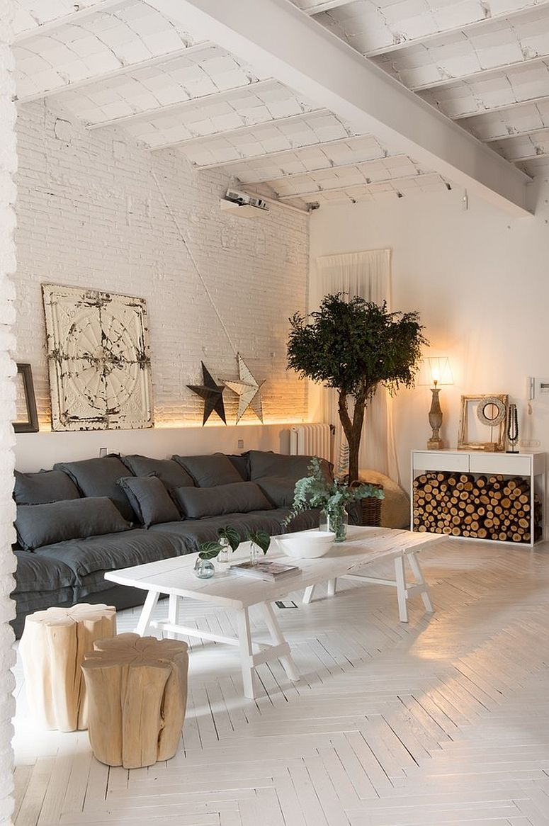 White shabby chic living room with a monochromatic appeal