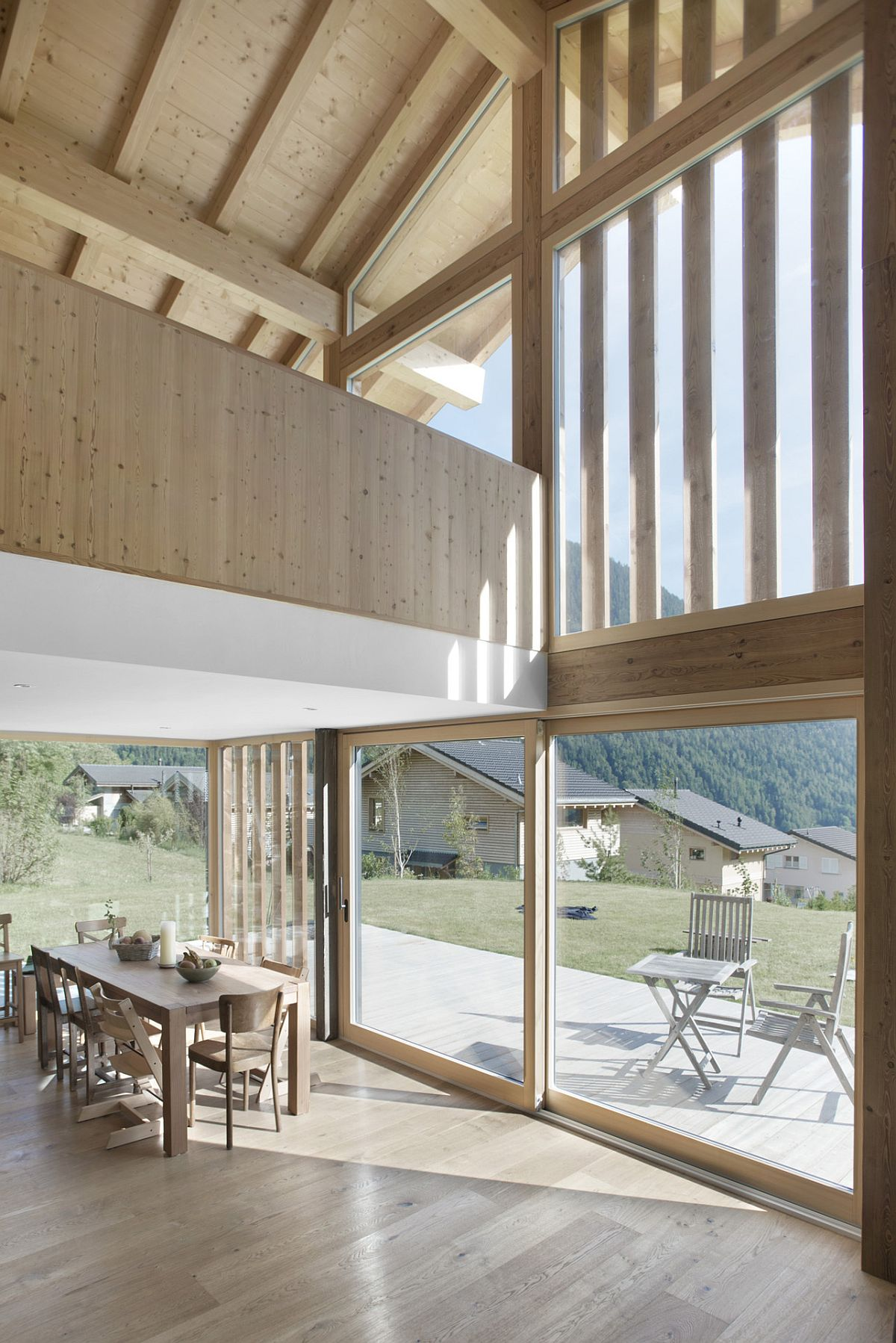 Wood-and-glass-shape-a-lovely-rear-facade-for-the-swiss-home