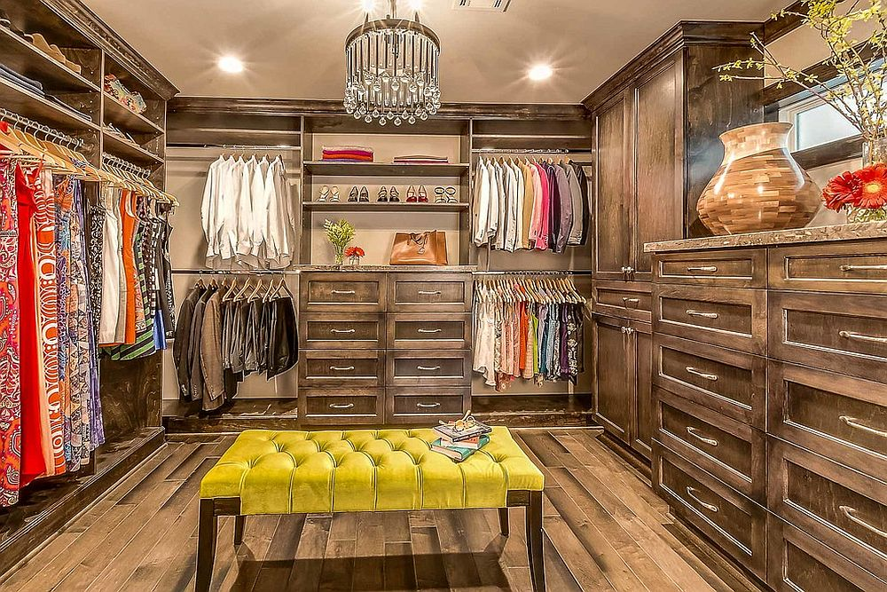 Wooden-drawers-and-shelves-give-this-eclectic-walk-in-closet-a-more-traditional-vibe