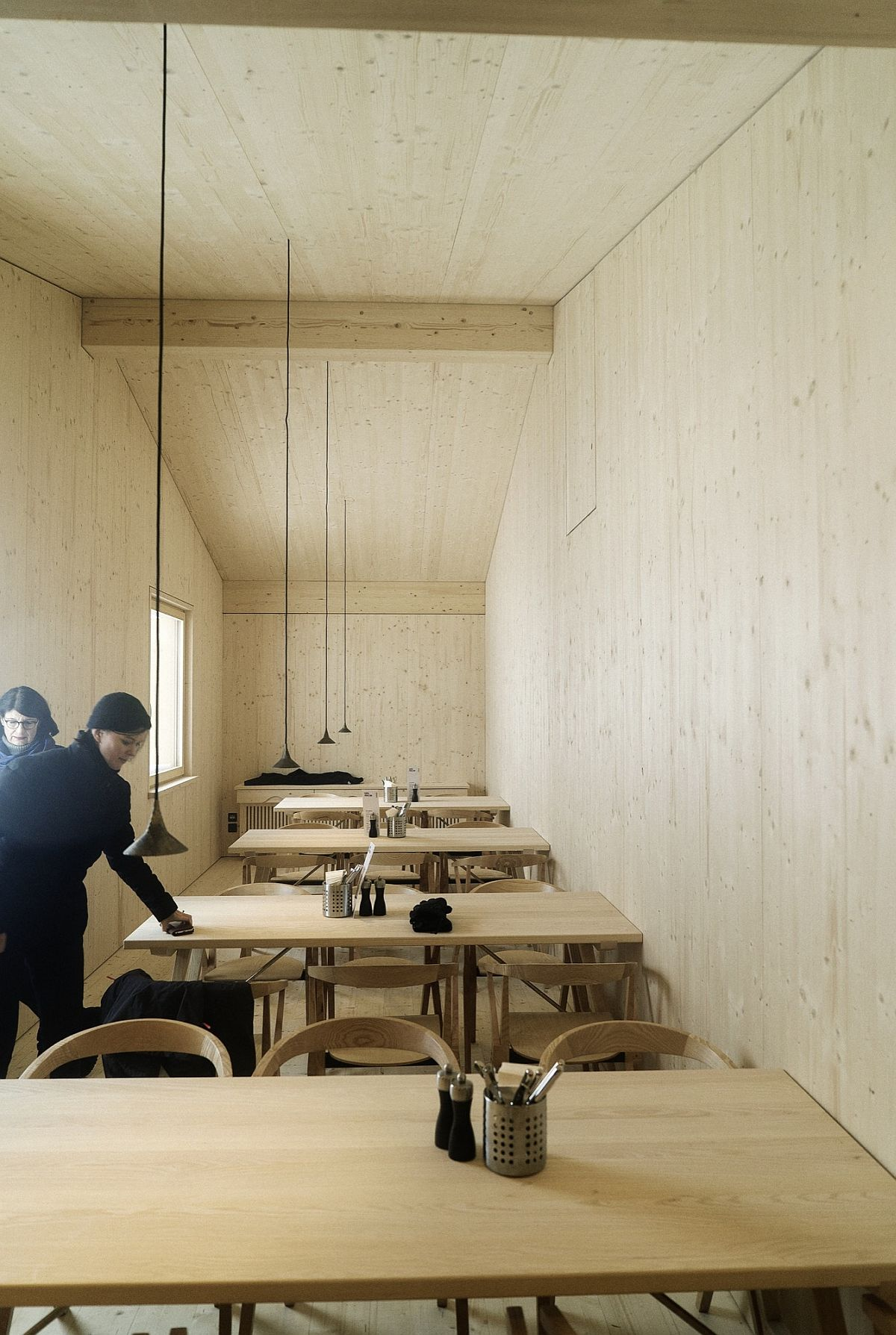 Wooden Interior Of The Espel Pavilion With Simple And Minimal