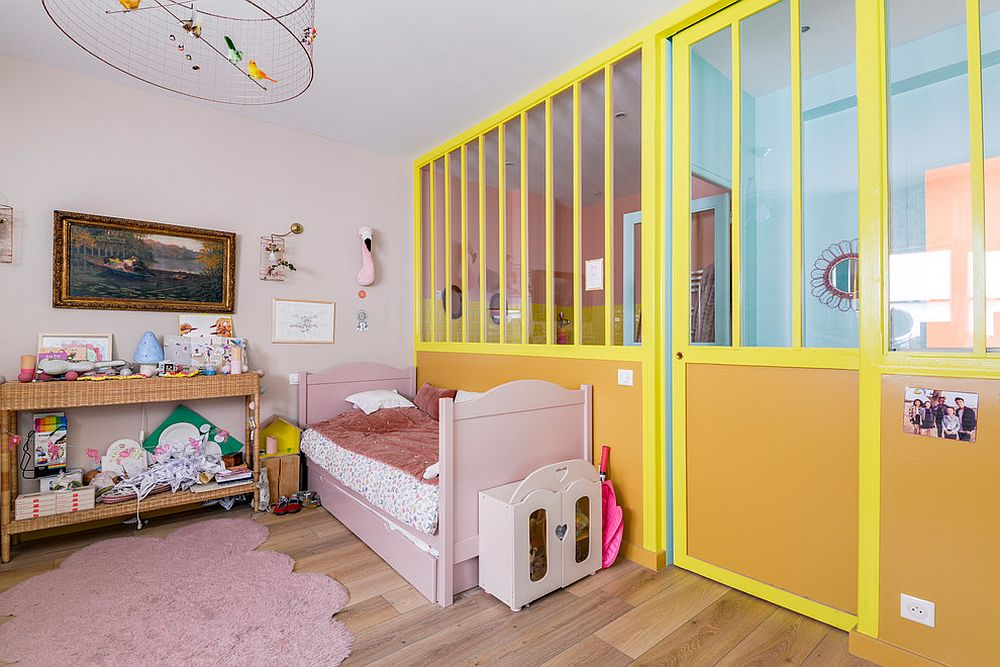 Yellow walls and sliding doors for the modern eclectic kids' room