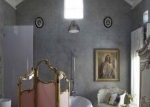 A-touch-of-Parisian-chic-for-the-concrete-walled-bathroom-makes-it-a-show-stopper-217x155
