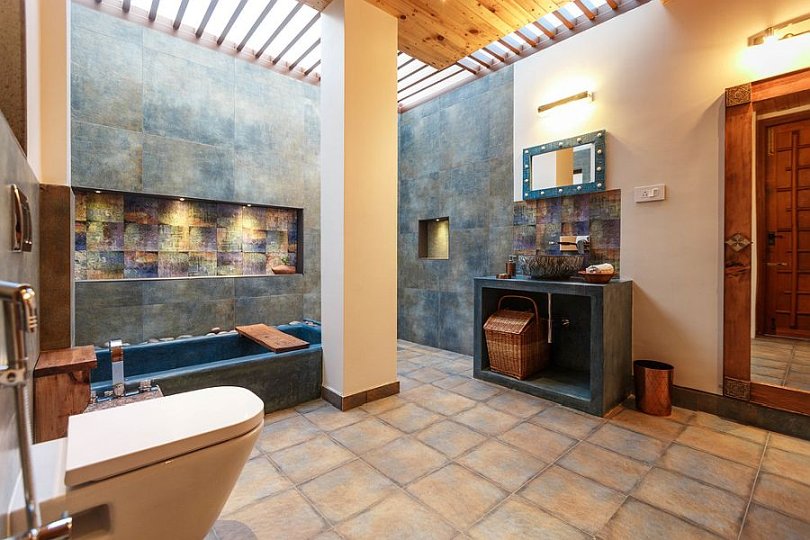 Concrete blocks give the bathroom a cool contemporary appeal along with its Asian style