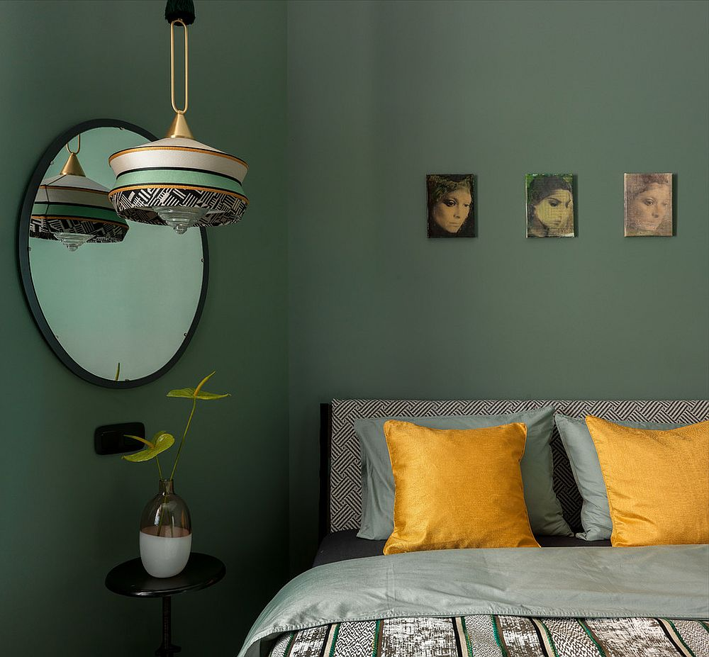Eclectic-bedroom-with-a-gorgeous-backdrop-and-yellow-accent-pillows