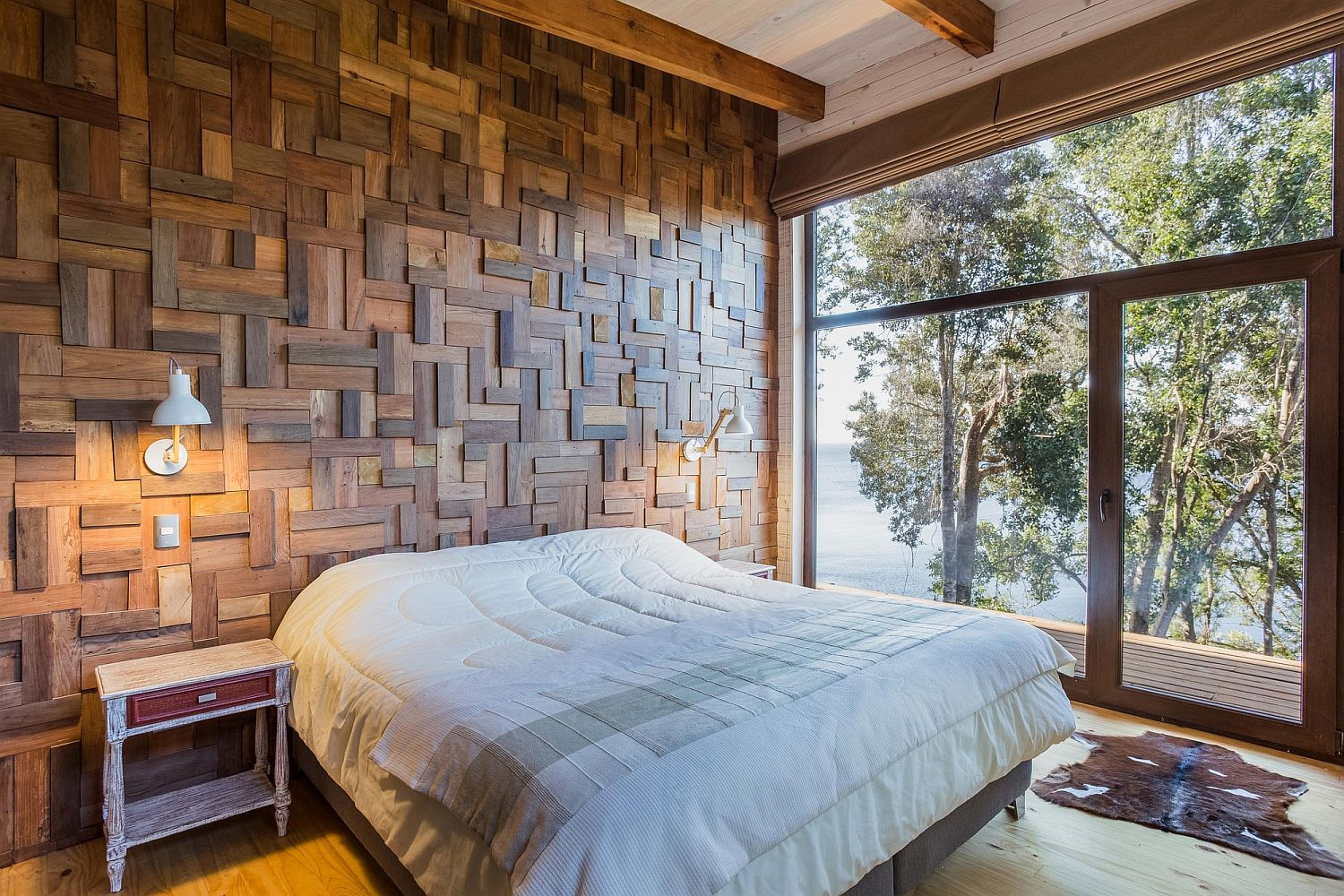 Exquisite wooden accent wall for the bedroom with 3D pattern