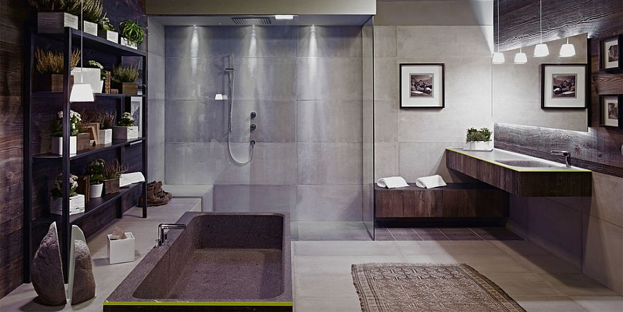 Fabulous industrial bathroom in concrete and wood