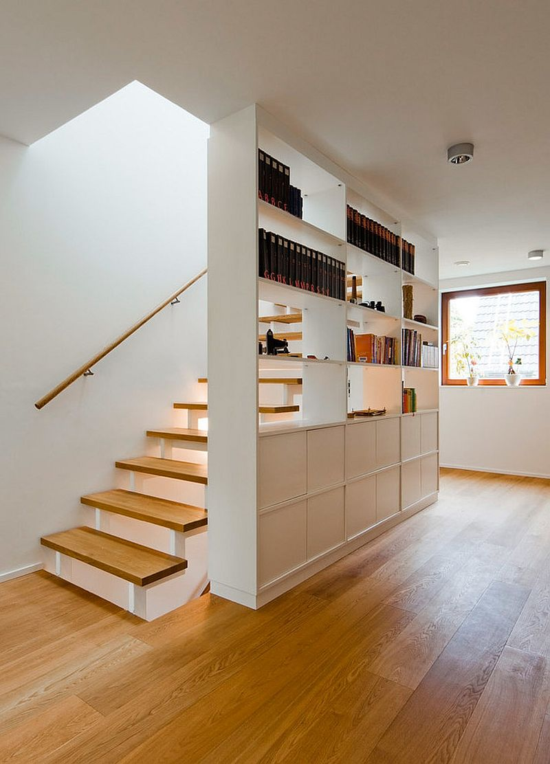 Finding space next to the stairway for a smart modern shelf and cabinet