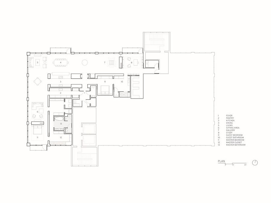 Floor plan of the historic renovated warehouse apartment in Iowa
