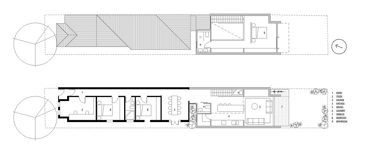 Floor plan of the revamped federation semi-detached cottage in Enmore
