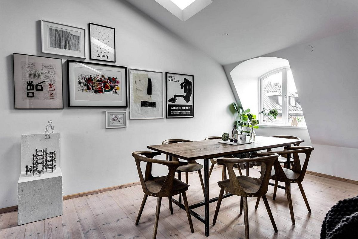Gallery wall for the tiny apartment dining area with Scandinavian style