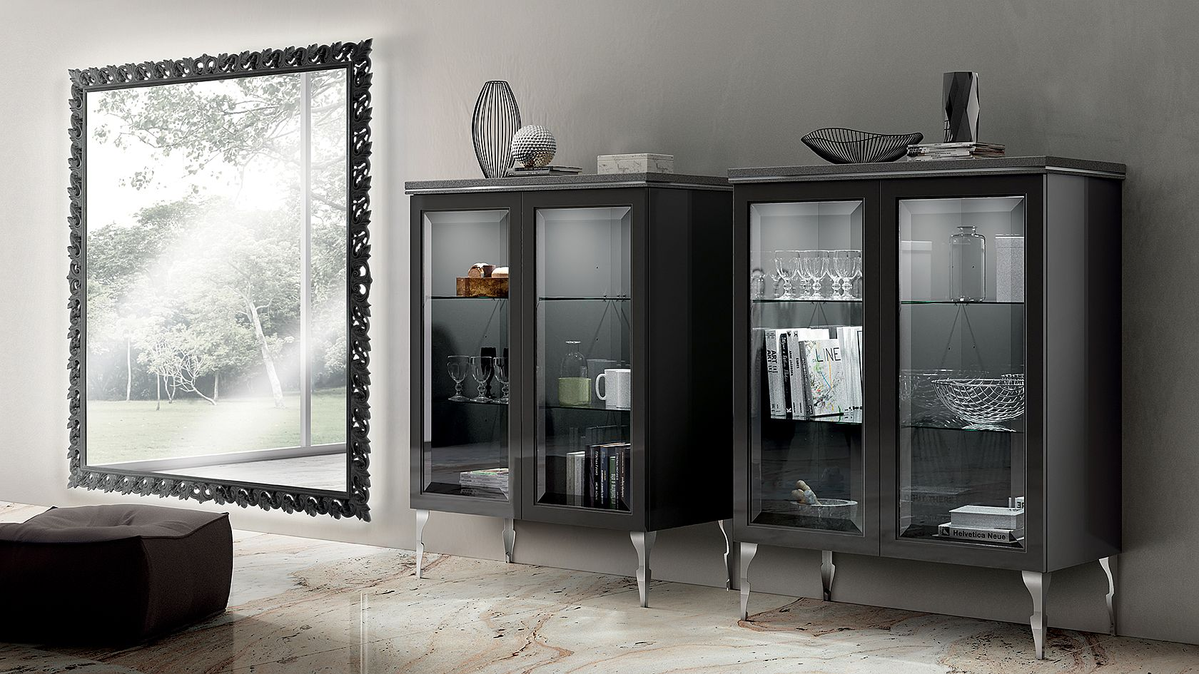 Glass door cabinets allow you to create a stunning display in the living room full of majestic elegance
