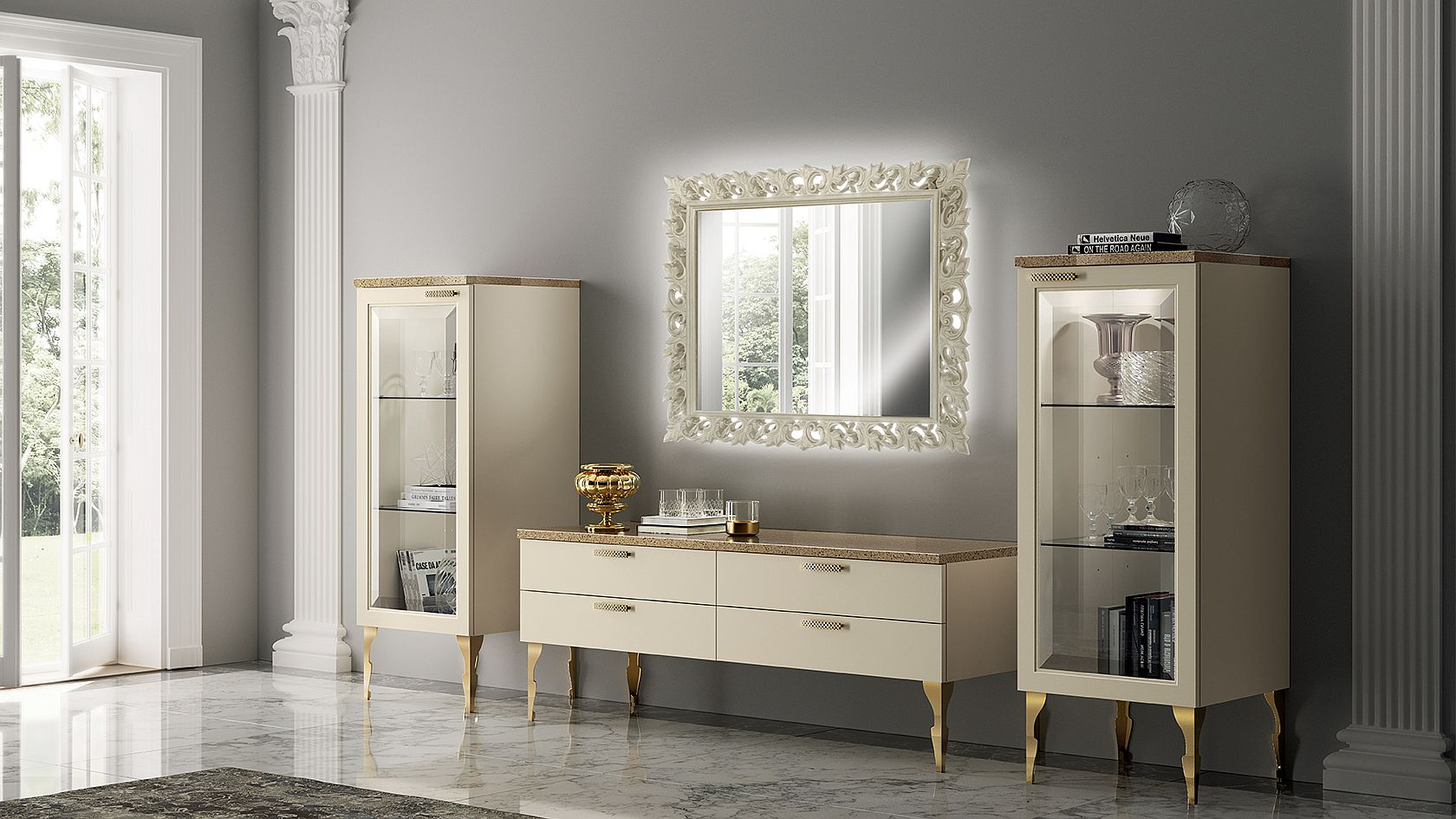 Gold finishes and accents add charm to this otherwise neutral composition full of regal panache