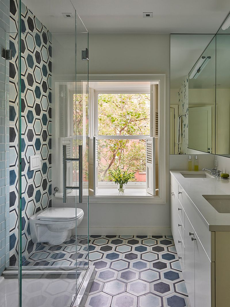 Gorgeous-use-of-hexagonal-tiles-inside-the-transitional-bathroom