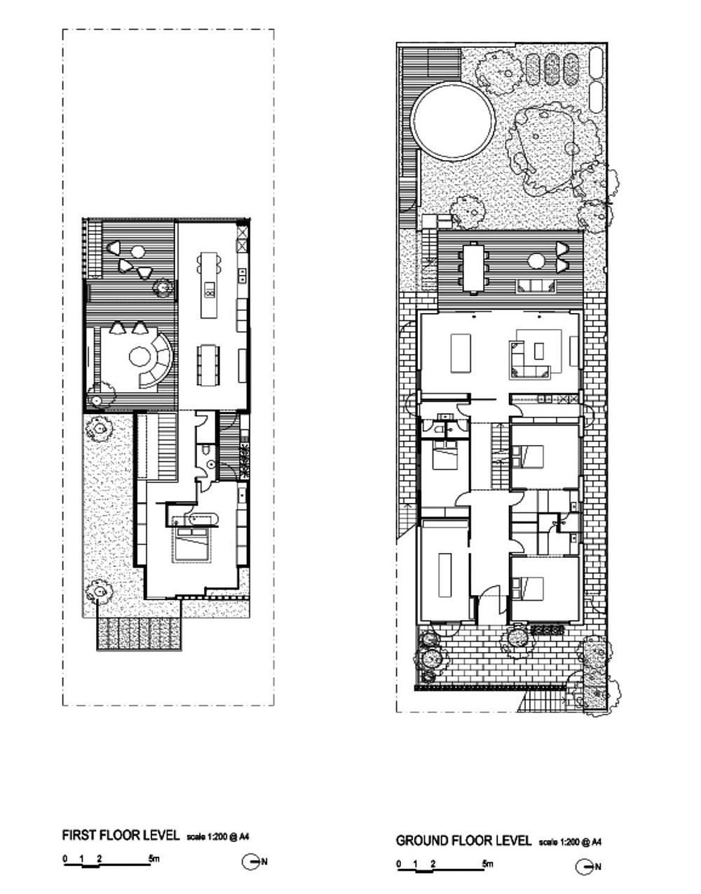 Ground floor and first floor plan of contemporary Goldtree House