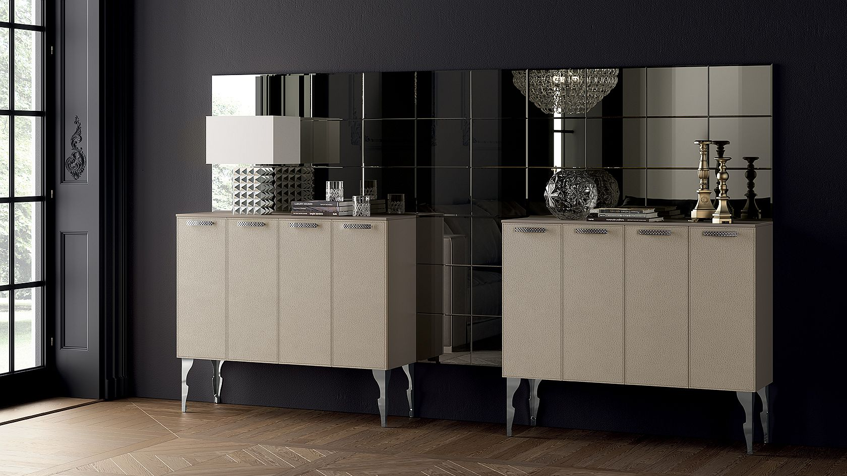 Large wall panels create a mirror that perfectly reflects the style of sophisticated cabinets
