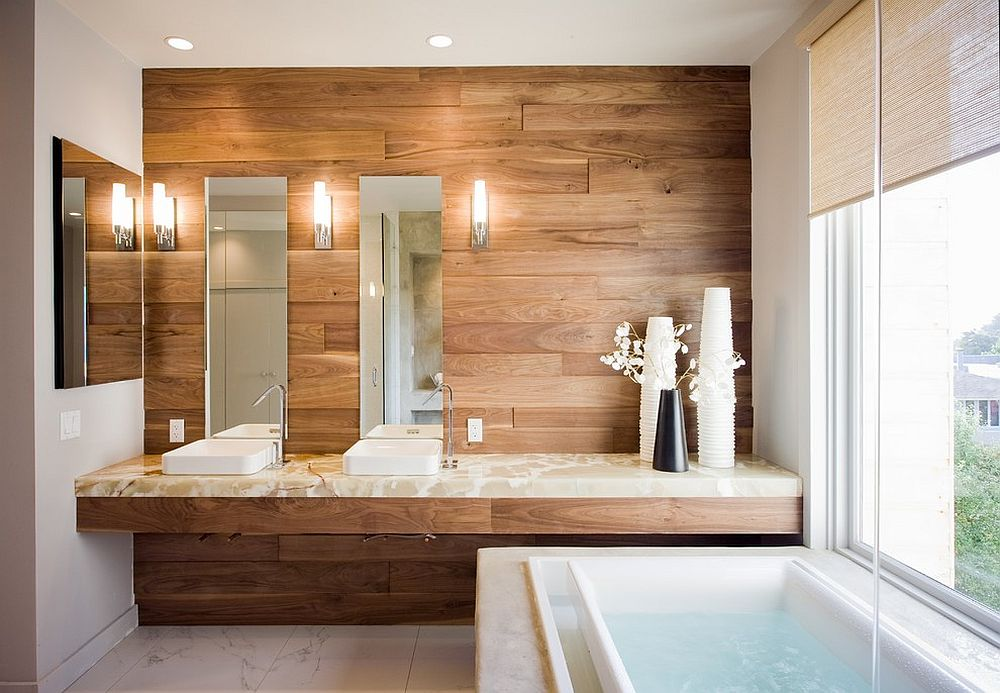 Lovely-wooden-accent-wall-for-the-contemporary-bathroom