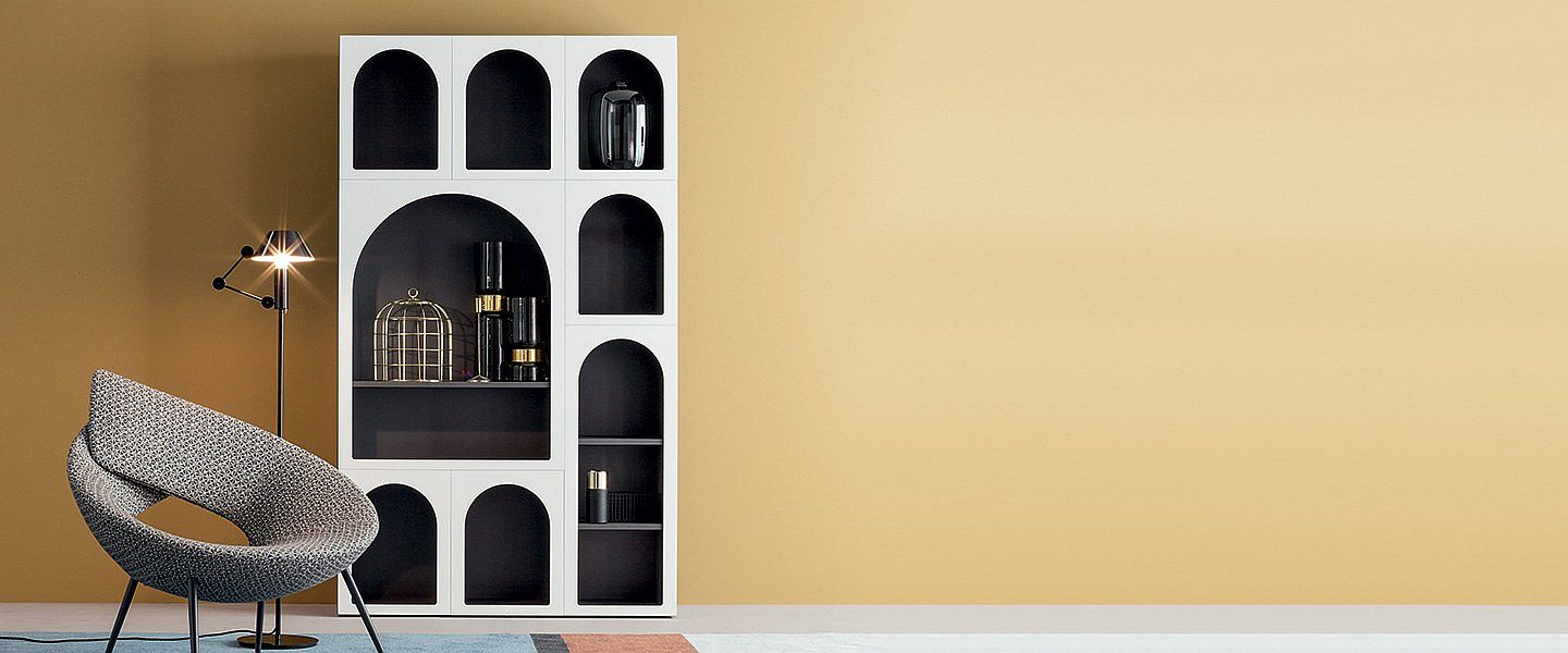 Modern and exceptional bookshelf designed with a touch of Persian flair