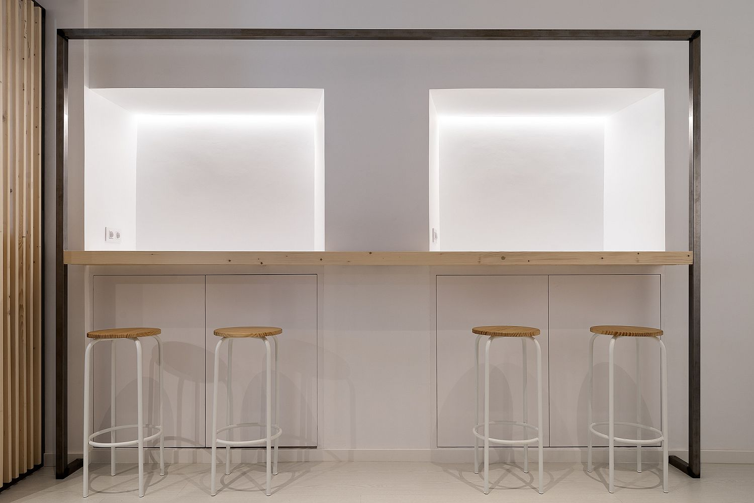 Modern minimal interior of the small restaurant in Spain