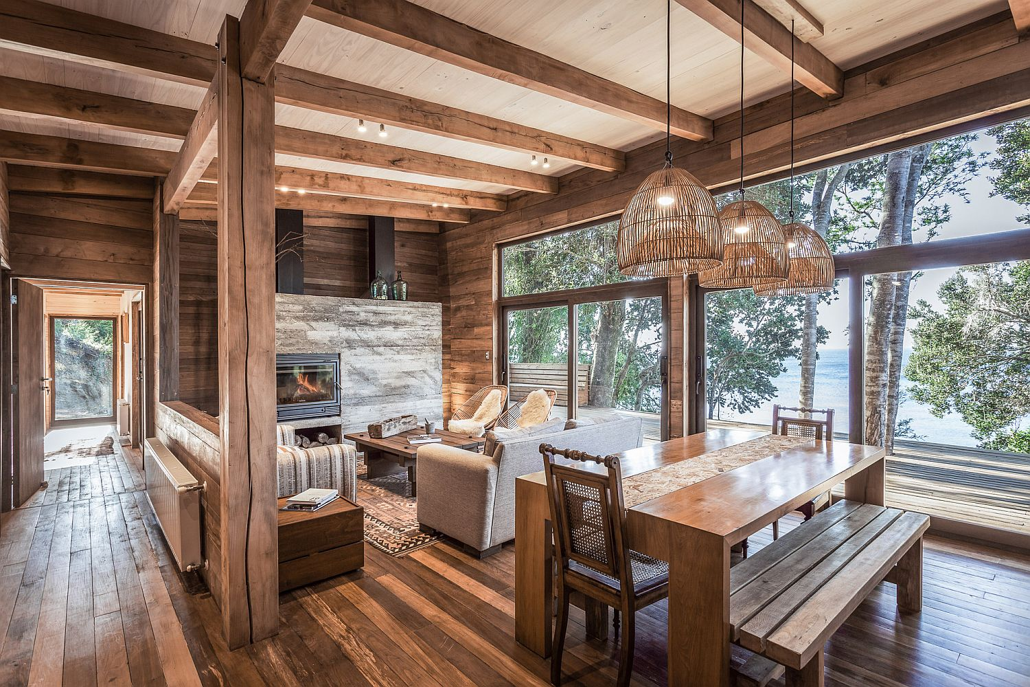 Natural wooden decor and interior give the home a warm, inviting look