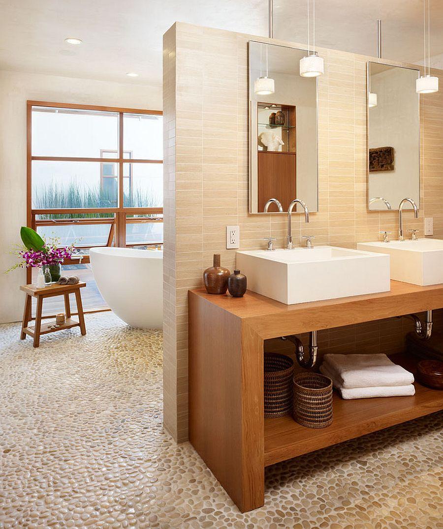 Pebbled-floor-tile-for-the-tropical-bathroom