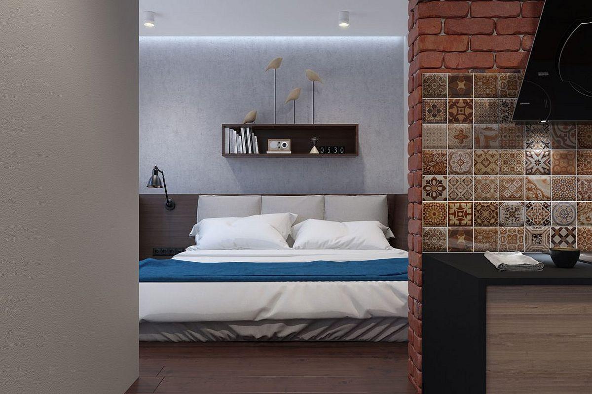 Polished-modern-bedroom-of-the-tiny-bachelor-apartment