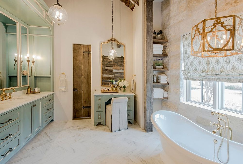 Rustic-bathroom-with-brass-accents-and-a-classic-vibe