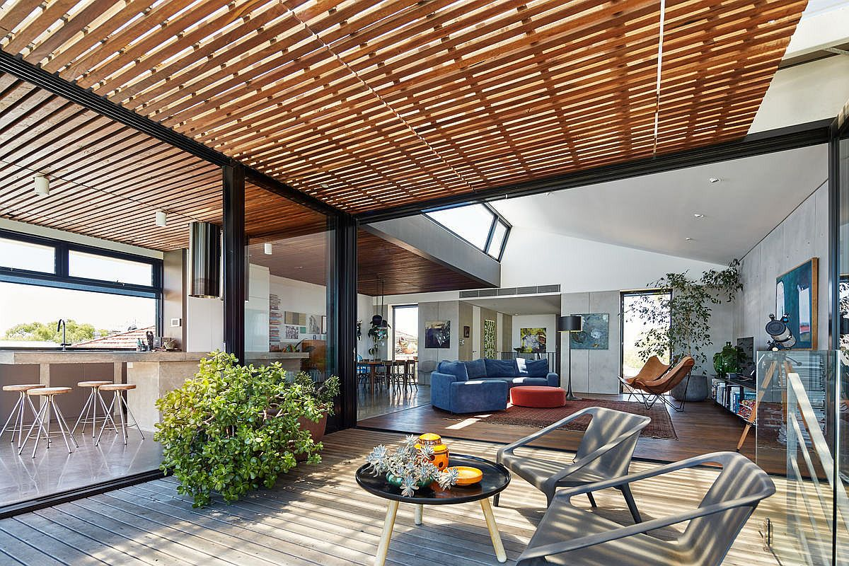 Sheltered outdoor space and decks become a part of the living area