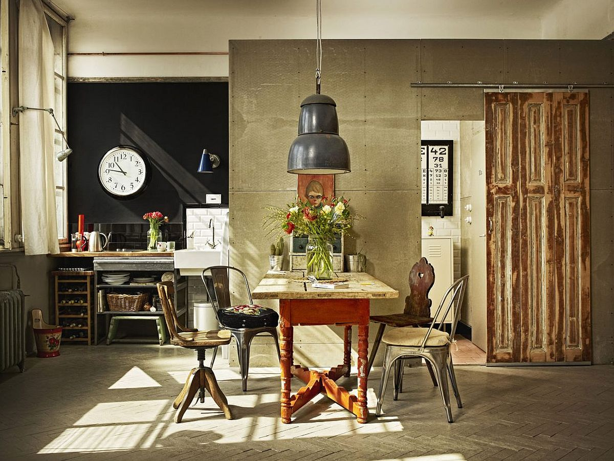 Small kitchenette and dining area inside the vintage industrial Budapest loft