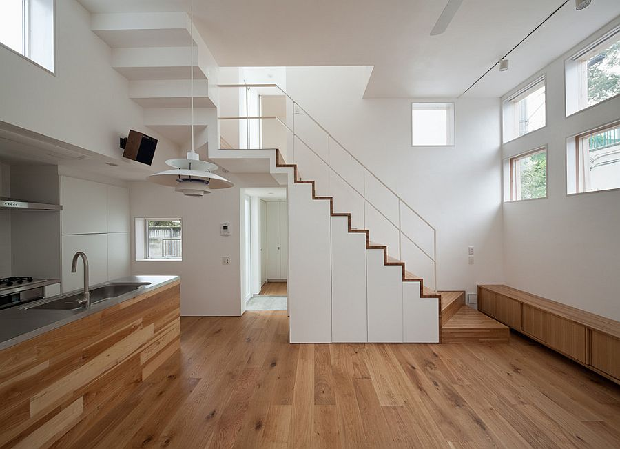 Space-savvy design of the stairway is perfect for the small contemporary home
