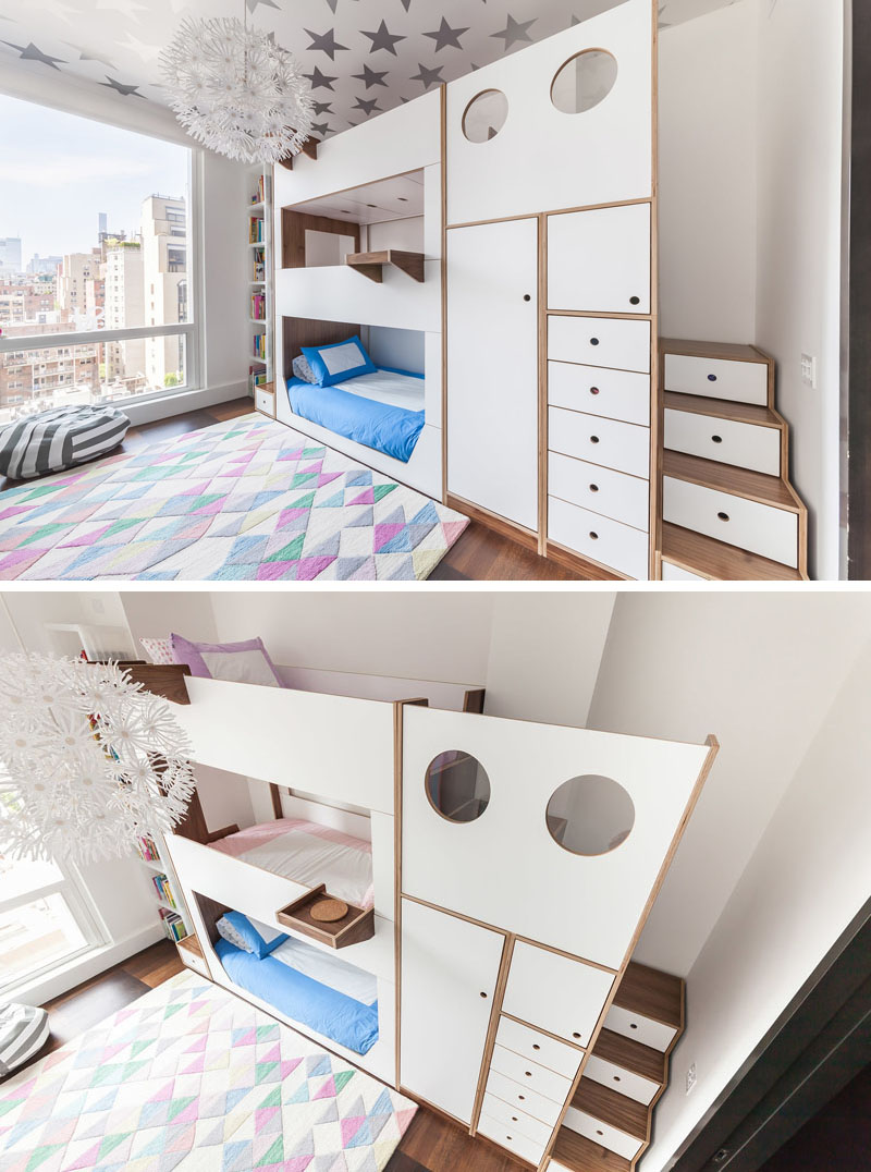 Steps used as storabge spaces add to the charm of the bunk bed design