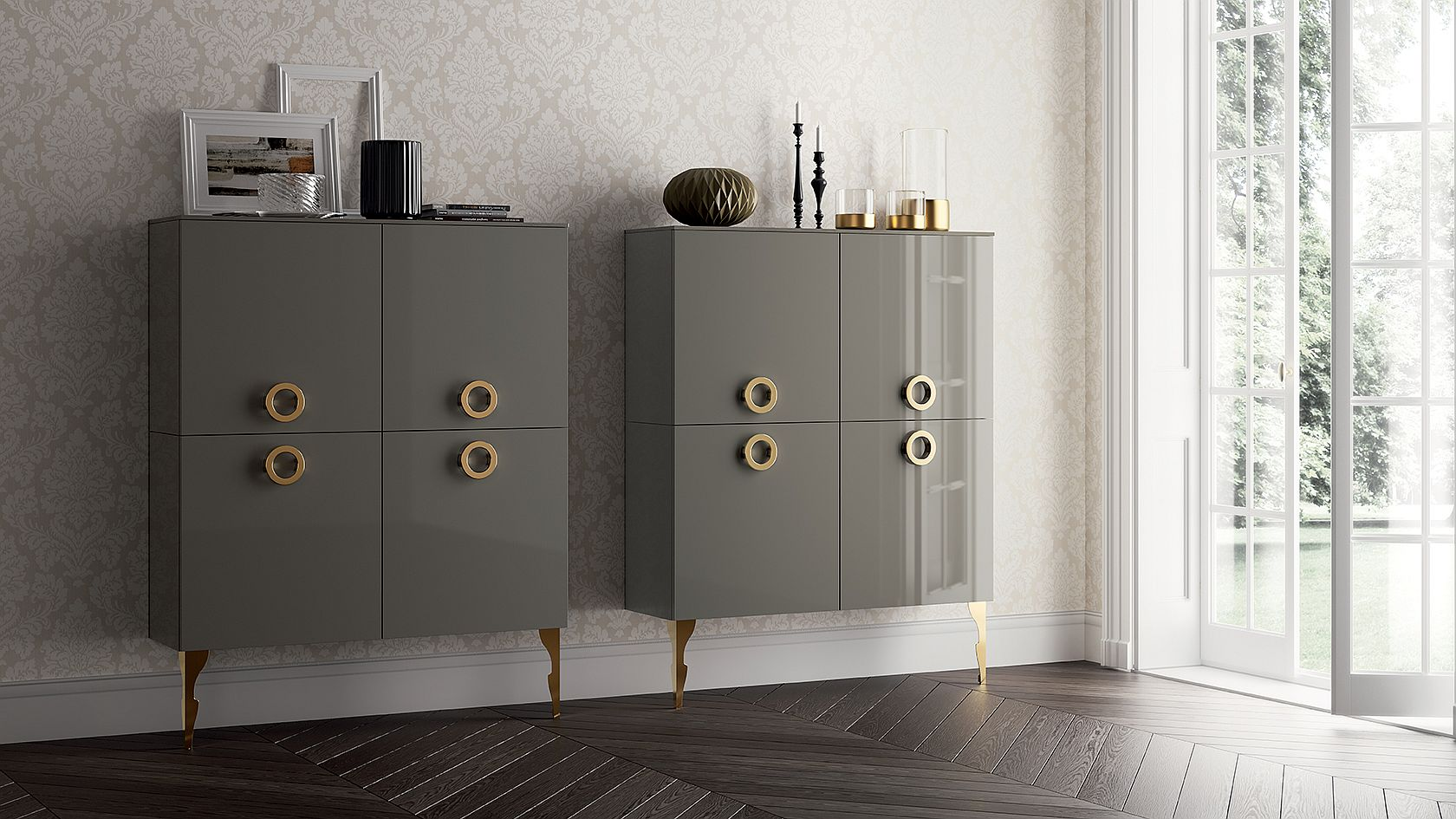 Twin cabinets in Titanium gray with metallic accents
