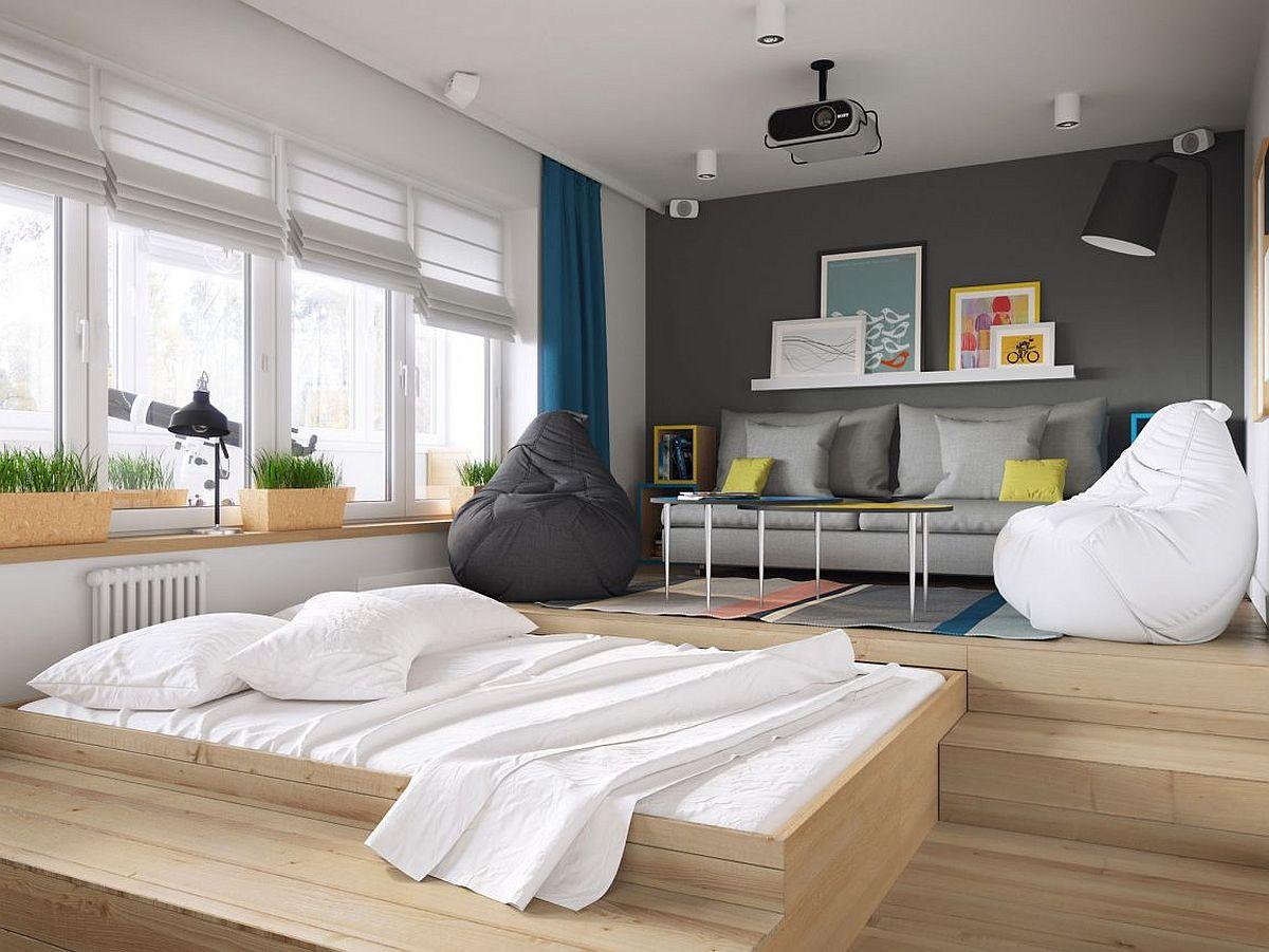 Unassuming-woodn-platform-hosts-the-bedroom-inside-this-small-Scandinavian-apartment