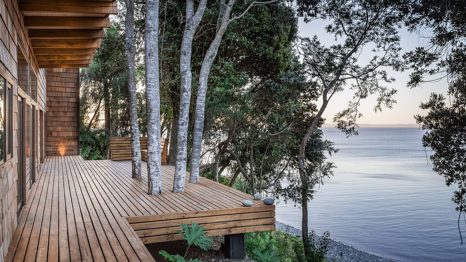 View of Lake Llanquihue from teh deck of Casa LM is simply spellbinding