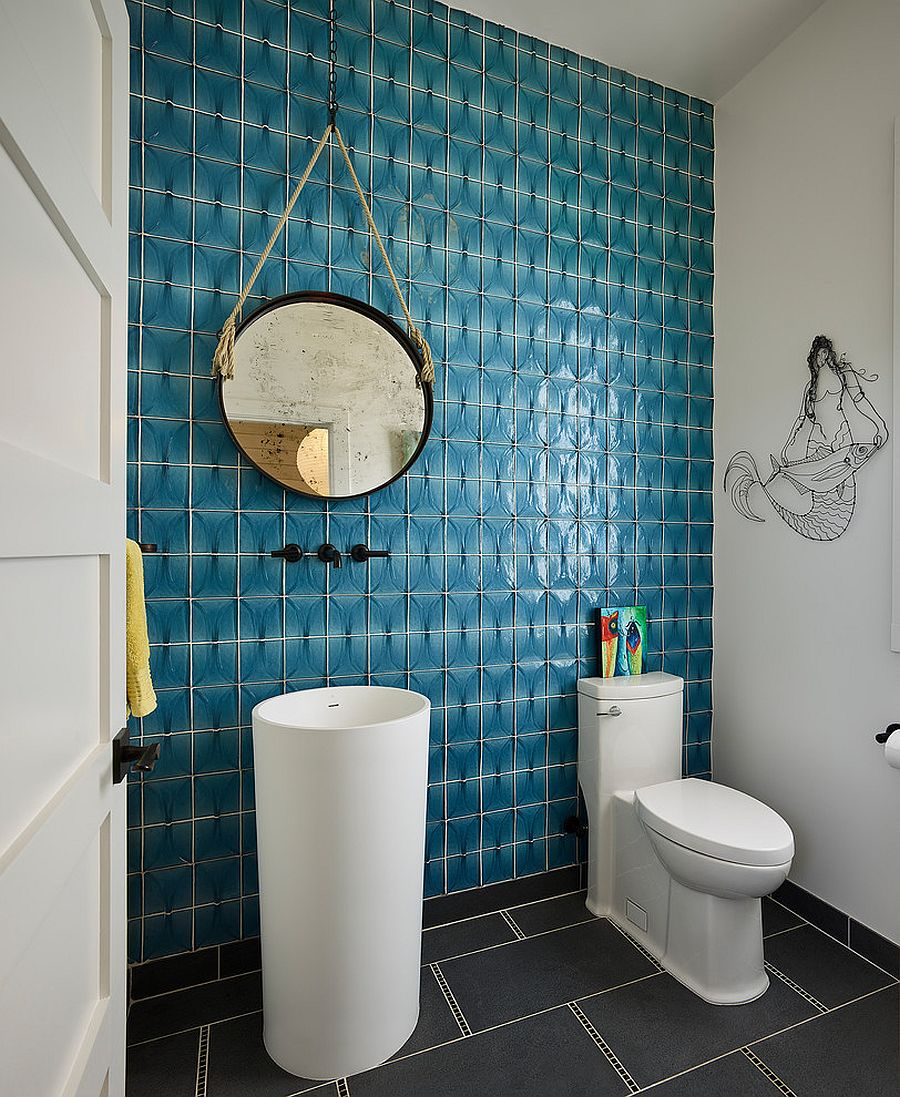 Black And White Powder Room: Refined And Refreshing: Trendy Powder Rooms In Gray And