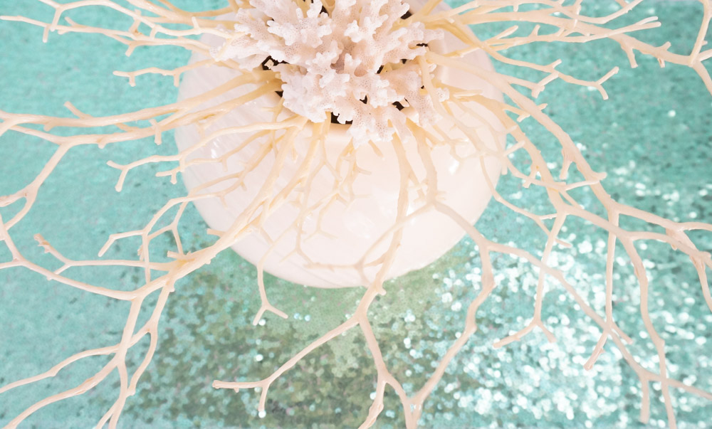 Beachy centerpiece with real and faux coral