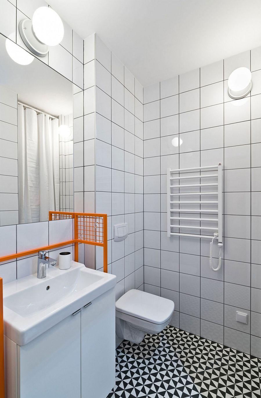 Black and white floor tiles for the tiny bathroom in light gray