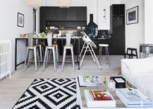 Black-and-white-geo-rug-for-small-contemporary-living-space-217x155