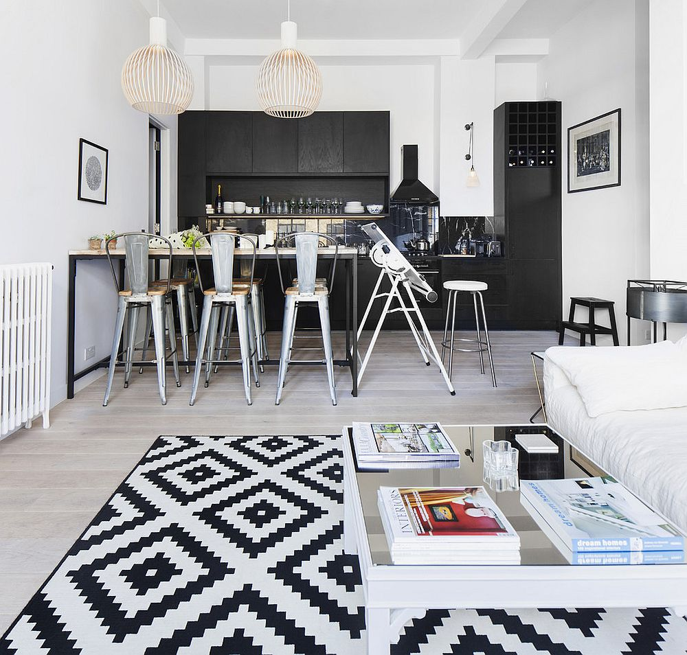 Black and white geo rug for small contemporary living space