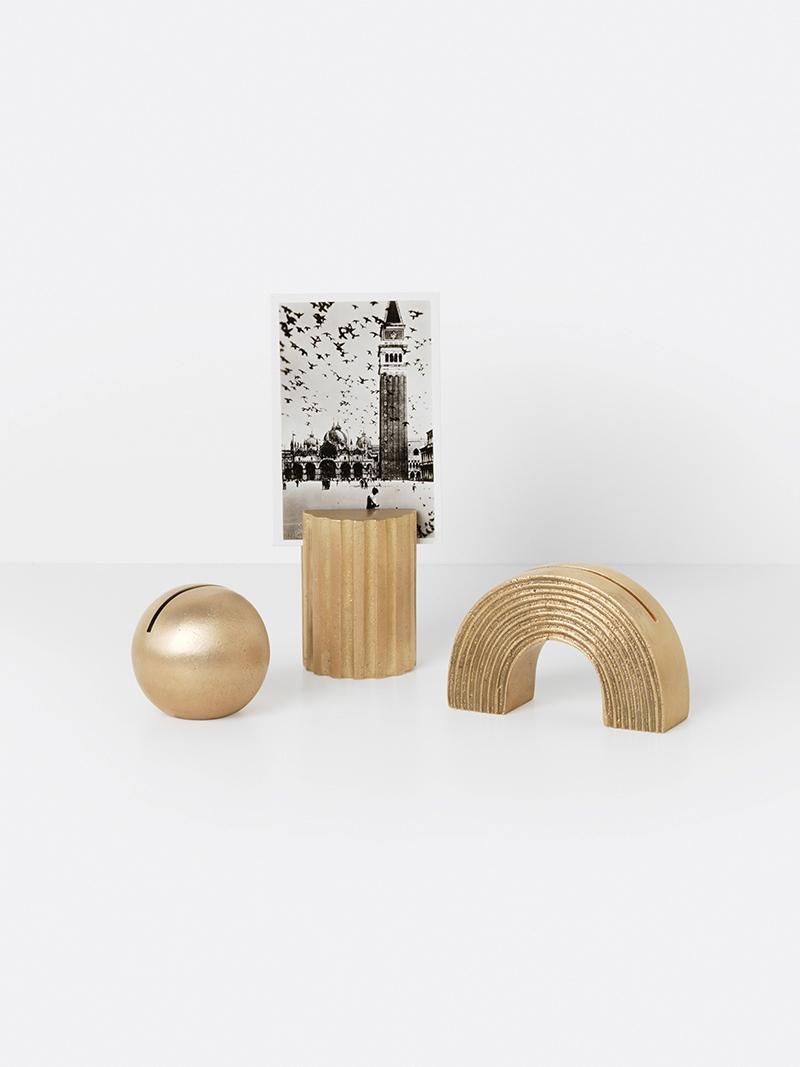 Brass card stands from ferm LIVING