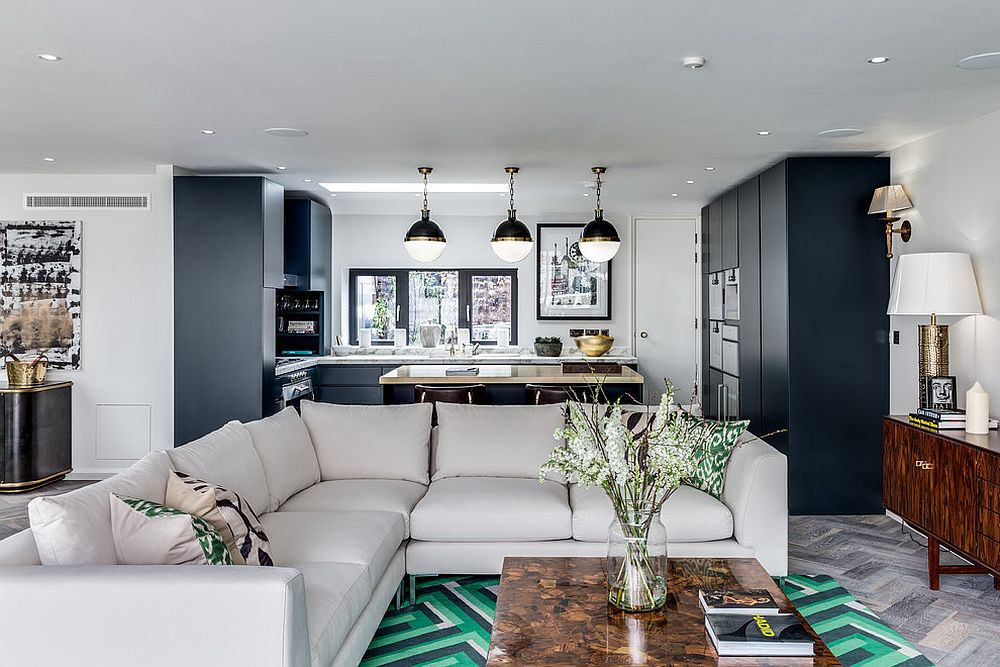 Bright green and black rug adds color and apttern to this spacious living room
