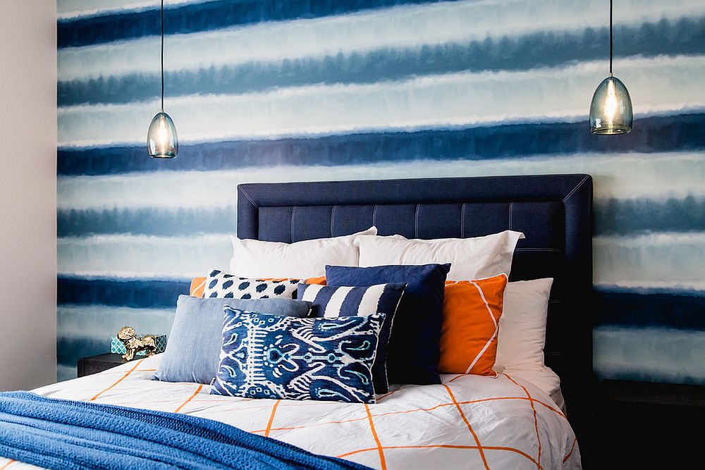 Brilliant use of different shades of blue in the kids' room
