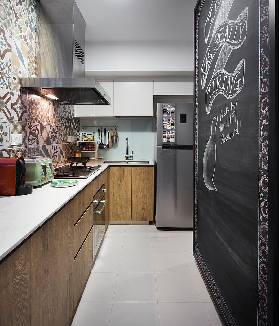 Chalkboard wall for the pantry gives the kitchen a cool focal point